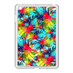 Watercolor Tropical Leaves Pattern Apple Ipad Mini Case (white) by TastefulDesigns