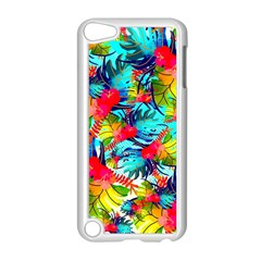 Watercolor Tropical Leaves Pattern Apple Ipod Touch 5 Case (white) by TastefulDesigns