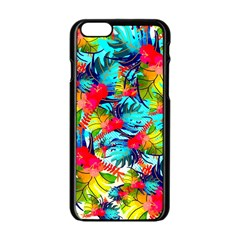 Watercolor Tropical Leaves Pattern Apple Iphone 6/6s Black Enamel Case by TastefulDesigns