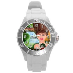 The Girl  With A Wooden Hair Unisex Plastic Sport Watch (large) By Jocelyn Apple/appleartcom by appleartcom