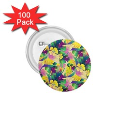 Tropical Flowers And Leaves Background 1 75  Buttons (100 Pack)  by TastefulDesigns