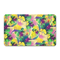 Tropical Flowers And Leaves Background Magnet (Rectangular) by TastefulDesigns