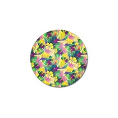 Tropical Flowers And Leaves Background Golf Ball Marker by TastefulDesigns
