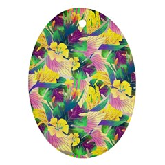 Tropical Flowers And Leaves Background Oval Ornament (two Sides) by TastefulDesigns