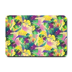 Tropical Flowers And Leaves Background Small Doormat  by TastefulDesigns