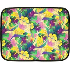 Tropical Flowers And Leaves Background Double Sided Fleece Blanket (mini)  by TastefulDesigns