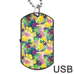 Tropical Flowers And Leaves Background Dog Tag Usb Flash (one Side) by TastefulDesigns