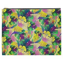 Tropical Flowers And Leaves Background Cosmetic Bag (xxxl)  by TastefulDesigns
