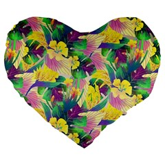 Tropical Flowers And Leaves Background Large 19  Premium Flano Heart Shape Cushions by TastefulDesigns