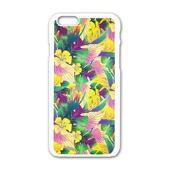 Tropical Flowers And Leaves Background Apple Iphone 6/6s White Enamel Case by TastefulDesigns