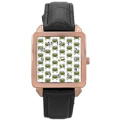 Funny Robot Cartoon Rose Gold Leather Watch  by dflcprints