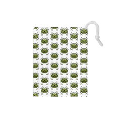 Funny Robot Cartoon Drawstring Pouches (small)  by dflcprints