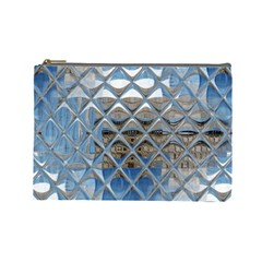 Mirrored Glass Tile Urban Industrial Cosmetic Bag (large)  by CrypticFragmentsDesign