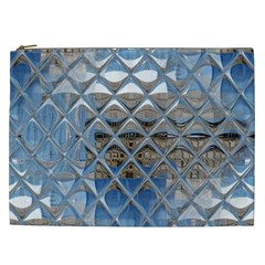 Mirrored Glass Tile Urban Industrial Cosmetic Bag (xxl)  by CrypticFragmentsDesign