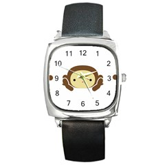 Three Wise Monkeys Square Metal Watch