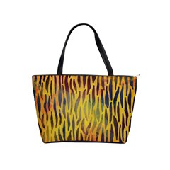 Colored Tiger Texture Background Shoulder Handbags by TastefulDesigns