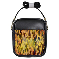 Colored Tiger Texture Background Girls Sling Bags