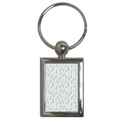 Whimsical Feather Pattern Dusk Blue Key Chain (rectangle) by Zandiepants