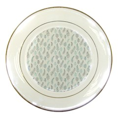 Whimsical Feather Pattern Dusk Blue Porcelain Plate by Zandiepants