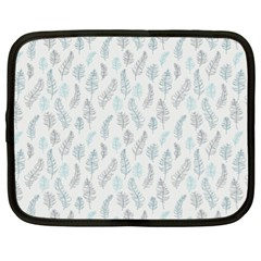 Whimsical Feather Pattern Dusk Blue Netbook Case (xl) by Zandiepants