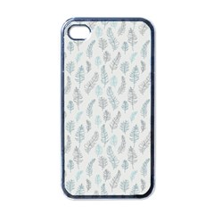 Whimsical Feather Pattern Dusk Blue Apple Iphone 4 Case (black) by Zandiepants