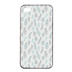 Whimsical Feather Pattern Dusk Blue Apple Iphone 4/4s Seamless Case (black) by Zandiepants
