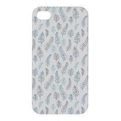 Whimsical Feather Pattern Dusk Blue Apple Iphone 4/4s Hardshell Case by Zandiepants