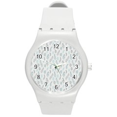 Whimsical Feather Pattern Dusk Blue Round Plastic Sport Watch (m) by Zandiepants