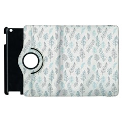 Whimsical Feather Pattern Dusk Blue Apple Ipad 3/4 Flip 360 Case by Zandiepants