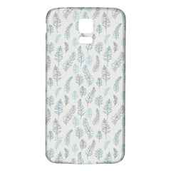 Whimsical Feather Pattern Dusk Blue Samsung Galaxy S5 Back Case (white) by Zandiepants