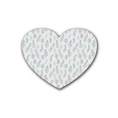 Whimsical Feather Pattern Dusk Blue Heart Coaster (4 Pack) by Zandiepants