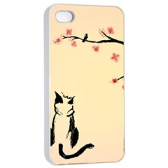 Luck And Patience Cat  Apple Iphone 4/4s Seamless Case (white) by FundaKindaDay