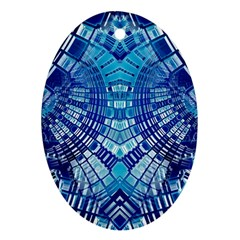 Blue Mirror Abstract Geometric Ornament (oval)  by CrypticFragmentsDesign