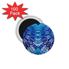 Blue Mirror Abstract Geometric 1 75  Magnets (100 Pack)  by CrypticFragmentsDesign