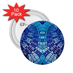 Blue Mirror Abstract Geometric 2.25  Buttons (10 pack)  by CrypticFragmentsDesign