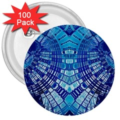 Blue Mirror Abstract Geometric 3  Buttons (100 Pack)  by CrypticFragmentsDesign