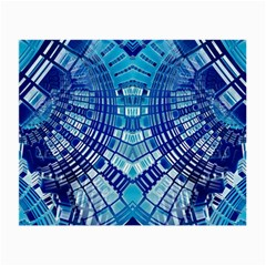 Blue Mirror Abstract Geometric Small Glasses Cloth by CrypticFragmentsDesign