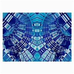 Blue Mirror Abstract Geometric Large Glasses Cloth by CrypticFragmentsDesign