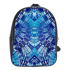 Blue Mirror Abstract Geometric School Bags(large)