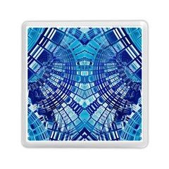 Blue Mirror Abstract Geometric Memory Card Reader (square)  by CrypticFragmentsDesign