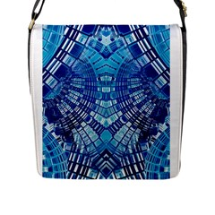 Blue Mirror Abstract Geometric Flap Messenger Bag (l)  by CrypticFragmentsDesign