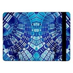 Blue Mirror Abstract Geometric Samsung Galaxy Tab Pro 12 2  Flip Case by CrypticFragmentsDesign