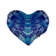Blue Mirror Abstract Geometric Standard 16  Premium Flano Heart Shape Cushions by CrypticFragmentsDesign