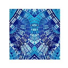 Blue Mirror Abstract Geometric Small Satin Scarf (square) by CrypticFragmentsDesign