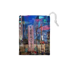 Las Vegas Strip Walking Tour Drawstring Pouches (small)  by CrypticFragmentsDesign