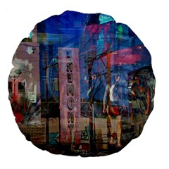 Las Vegas Strip Walking Tour Large 18  Premium Flano Round Cushions by CrypticFragmentsDesign