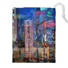 Las Vegas Strip Walking Tour Drawstring Pouches (xxl) by CrypticFragmentsDesign