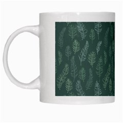 Whimsical Feather Pattern, Forest Green White Mug by Zandiepants