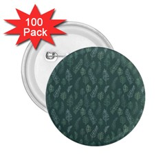 Whimsical Feather Pattern, Forest Green 2 25  Button (100 Pack) by Zandiepants