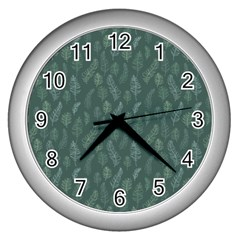 Whimsical Feather Pattern, Forest Green Wall Clock (silver) by Zandiepants